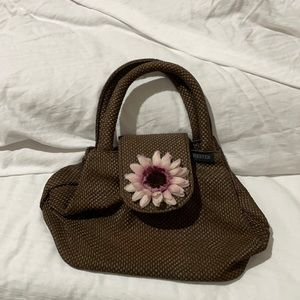 Chester brown synthetic soft straw like material handbag flower on flap over